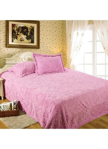Maxstyle Rose Fluffy Pudra Soft Yatak Örtüsü Pudra